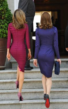 Princess Letizia of Spain (left) and Carla Bruni-Sarkozy (right)