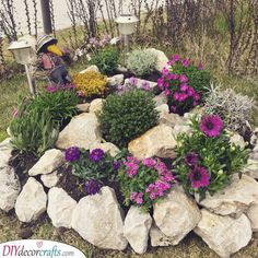 Rockery Garden, Rock Garden Plants, Patio Plants, Rock Garden Design, Small Garden Design, Landscaping With Rocks, Front Yard Landscaping, Landscaping Ideas, Outdoor Landscaping