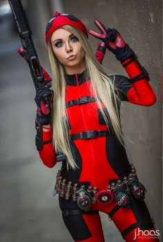 Cosplay Anime Costume Lady Deadpool by Chrystafettcosplay - More memes, funny videos and pics on Deadpool Cosplay, Lady Deadpool, Cosplay Anime, Marvel Cosplay, Female Deadpool, Deadpool Costume Lady, Deadpool Halloween, Dead Pool, Bd Comics
