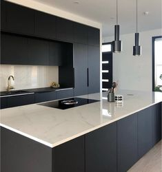 """32 Fabulous Black Kitchen Cabinets You Definitely Like - Are you considering the awe-inspiring beauty of black kitchen cabinets? Black is the new """"in color"""" in kitchen design and décor. The effect can be ver. Luxury Kitchen Design, Kitchen Room Design, Kitchen Cabinet Design, Kitchen Layout, Home Decor Kitchen, Interior Design Kitchen, Kitchen Ideas, Kitchen Living, Kitchen Inspiration"""