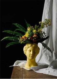 Ceramic Flower Pots, Flower Vases, Ceramic Vase, Poseidon Statue, Living Statue, Resin Planters, Indoor Plant Pots, Pottery Sculpture, Vases Decor