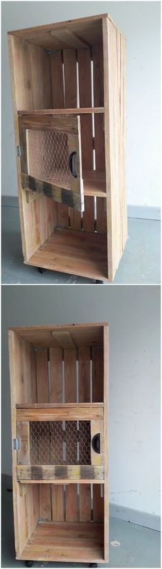 How about setting your house with this superb style of wood pallet cabinet set? Isn't it interesting looking? Well this wood pallet cabinet structure has been designed in the vertical shape that is divided into three divisions of the cabinets. It can act out much helpful for you in terms of storage purposes.