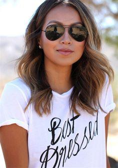 Cool sunglasses and short hair! Loving this wavy lob #hair #beachyhair