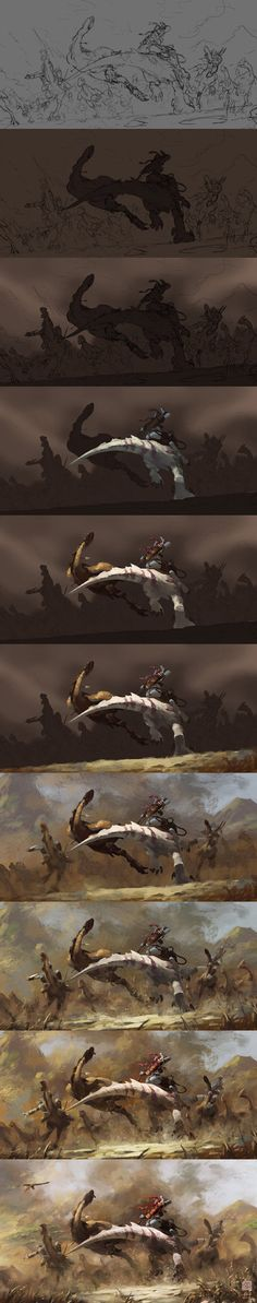 The painting process of Hunting by 6kart on deviantART