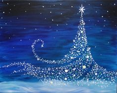 Join us for a Paint Nite event Wed Dec 2018 at 815 Pacific Ave Tacoma, WA. Purchase your tickets online to reserve a fun night out! black canvas ideas, diy painting canvas tutorial, spring paintings on canvas Magical Christmas, Noel Christmas, Christmas Images, Christmas Signs, Holiday Canvas, Christmas Paintings On Canvas, Christmas Canvas, Winter Painting, Winter Art