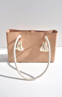 molded leather--Pocket Tote Bag, Natural