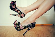 floral high heels. I had these at one point in my life and now they are missing :(