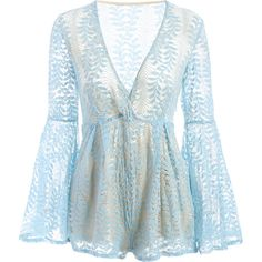 Lace Plunging Neck Flare Sleeve Romper ($31) ❤ liked on Polyvore featuring jumpsuits, rompers, plunging neckline romper, playsuit romper, lace rompers, blue romper and plunge neck romper