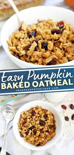 Pumpkin + oatmeal = BEST fall breakfast! This easy and healthy breakfast idea screams fall flavors. The cranberries add a nice pop of color and sweetness and the oatmeal works well with the pumpkin flavor. The best part? It can be a tasty Thanksgiving morning recipe too! Pin this!