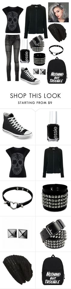 """""""Nothing but trouble."""" by exorale ❤ liked on Polyvore featuring Converse, Essie, Tomas Maier, Waterford, Dr. Martens, King & Fifth Supply Co., black, skinnyjeans, bag and backpack"""