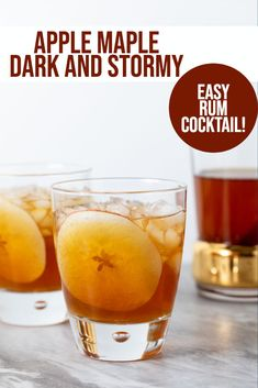 Apple Maple Dark and Stormy - the perfect fall cocktail. Apples, maple and rum make a delicious and easy cocktail! Mezcal Cocktails, Dark Rum Cocktails, Rum Cocktail Recipes, Cocktail Syrups, Drinks Alcohol Recipes, Apple Cocktails, Yummy Drinks, Winter Cocktails, Popular Cocktails
