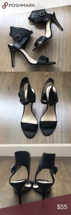 Vince Camuto black ankle wrap heels Vince Camuto black ankle wrap heels, super soft leather. Almost brand new, only worn once. Size 7.5, true to size. Vince Camuto Shoes Heels