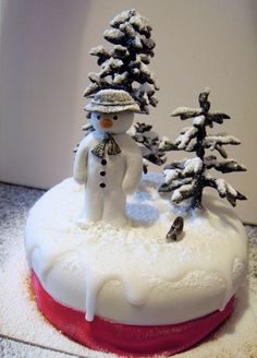 The Snowman Christmas Cake - Fimo and Sculpey re-usable decorations.