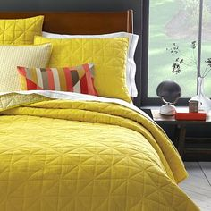 Our bedroom Nomad Coverlet + Shams - Peridot Yellow Bedspread, Yellow Quilts, Bedroom Yellow, Home Bedroom, Bedroom Ideas, Master Bedroom, Bedrooms, Bedroom Inspiration, Guest Room Office