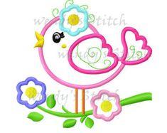 Aves de flor en un árbol apliques bordado diseño por WendysStitch