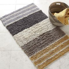 Expertly Woven From Pure Cotton, Our Chunky Loop Striped Bath Rug Features  Thick ...