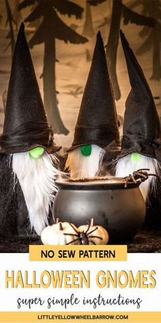 DIY Felt Gnome Witches - A Quick Halloween Craft Project - DIY Crafts - Take a look and see how easy it is to make these great Halloween gnomes. These guys are so easy and - Quick Halloween Crafts, Happy Halloween, Halloween Projects, Holidays Halloween, Fall Crafts, Holiday Crafts, Holiday Fun, Craft Projects, Funny Halloween