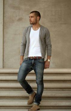Gray Cardigan ☆Jeans☆Casual Menswear