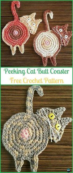 Crochet Peeking Cat Butt Coaster Free Pattern - Crochet Coasters Free Patterns