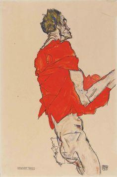 Egon Schiele- Stehender Mann (Selbstdarstellung in rotem Hemd) (Homme debout, Autoportrait à la chemise rouge), 1913
