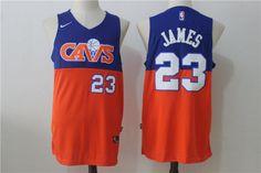 7aac38183eab Men s Cleveland Cavaliers LeBron James Royal Blue with Orange Fadeaway 2017  2018 Nike Swingman Stitched NBA Jersey