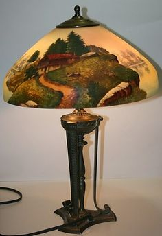 ANTIQUE PAIRPOINT TABLE LAMP W/ REVERSE PAINTED SHADE