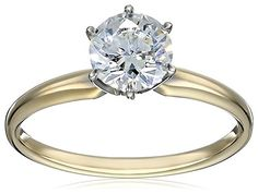 10k Yellow Gold RoundCut Solitaire with Swarovski Zirconia Ring 1 cttw Size 5 -- Check this awesome product by going to the link at the image.(This is an Amazon affiliate link and I receive a commission for the sales)
