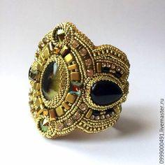 """Купить """" Фараон"""" серьги и браслет - Браслет ручной работы, браслет с камнями, браслет на руку"""