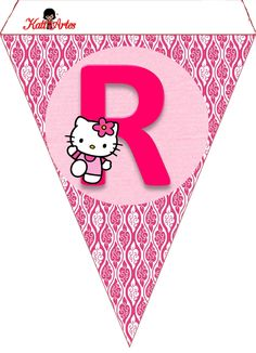 Hello Kitty Free Printable Bunting. Banderines de Hello Kitty.
