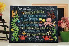 Under the Sea, The Little Mermaid - Unique Canvas Art, wall decor, wall art, bedroom, nursery,kids room, playroom, Disney, Ariel,