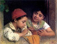 Blowing Bubbles     Luigi Bechi (1830 – 1919, Italian)