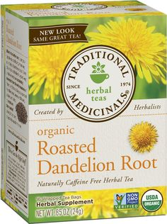 Traditional Medicinals Organic Roasted Dandelion Root Tea, 16 Tea Bags (Pack of * You can find out more details at the link of the image. Dandelion Root Tea, Dandelion Leaves, Dandelions, Herbal Leaves, Organic Herbal Tea, Best Detox, Tea Brands, Detox Tea, Essential Oils