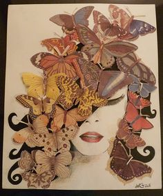 Butterfly Art! My latest mixed media piece, made with paper butterflies, graphite and colored pencils.