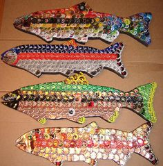 'RainBrew Trout' by dwcdaid. This is what I make when I'm sitting around, having a beer, listening to tunes. I call them RainBrew Trout. They are beer bottle caps fixed to solid wood abd come in and sizes. Beer Cap Art, Beer Bottle Caps, Bottle Cap Art, Beer Caps, Bottle Top, Diy Bottle, Bottle Cap Projects, Bottle Cap Crafts, Beer Cap Crafts