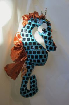 OOAK Beaded Blue Cloth Art Seahorse Decoration by StephisWhimseys, $20.00