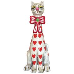 1960's Jeanne Valentine Paper Mâché Heart Cat Sculpture ($295) ❤ liked on Polyvore featuring home, home decor, models & figurines, kitten figurines, cat figurines, heart sculpture, colorful home decor and cat sculpture