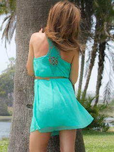 Mint Julep Crochet Back Chiffon Dress $36