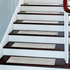 Harrison Weave Washable Stair Treads-Set of 4 Basement Stairs Harrison stair TreadsSet Washable Weave Basement Subfloor, Basement Steps, Stair Mats, Tile Steps, Staircase Makeover, Small Space Interior Design, Wooden Staircases, Wood Stairs, House Stairs