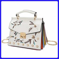 handbags women embroidered bag pearl rivet crossbody bag chain shoulder bags White - Shoulder bags (*Amazon Partner-Link)