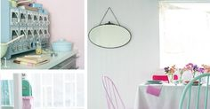 1. Photo from Patchwork Harmony 2. Striped apron and cakestand both from H&M Home 3. Pastel colored windsor chairs paired with ...
