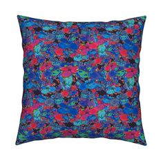 Catalan Throw Pillow featuring FLOWERS FEAST BLUE PINK by paysmage | Roostery…