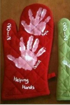 Handprint oven mitts