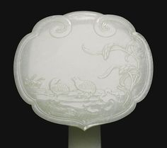 A FINE PALE CELADON JADE 'QUAIL AND MILLET' RUYI SCEPTRE QING DYNASTY, 18TH/19TH CENTURY