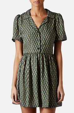 Free shipping and returns on Topshop Piped Tile Print Shirtdress at Nordstrom.com. Subtle contrast piping outlines the collared button-up neckline of this flouncy woven shirtdress delightfully charmed with puffed shoulders and a delicately pleated skirt.