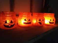 Pumpkin Candle Holder Halloween Mason Jars. by SamanthaBugglin, $24.00