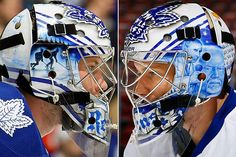 James Reimer of the Toronto Maple Leafs (born March 1988 in Winnipeg, MB.) InGoal Magazine's article about Reimer's mask is here . Hockey Helmet, Hockey Goalie, Ice Hockey, James Reimer, Goalie Mask, Masked Man, Toronto Maple Leafs, Helmets, Nhl
