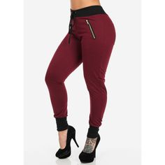 Burgundy Joggers with Front Zippers ($17) ❤ liked on Polyvore featuring activewear, activewear pants, pants, bottoms, jeans and jogger
