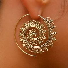 Beautiful Decorated Brass Hook Earrings - Tribal Jewelry - Hook Piercings - Brass Jewelry - Native Jewery - Ethnic Jewelry Beautiful hand made brass hook in spiral shape set with tiny balls. Suitable for normal ear piercing.