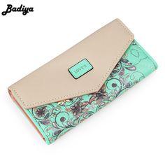 Cheapest $6.38, Buy 2017 New Fashion Flowers Envelope Women Wallet Hot Sale Long Leather Wallets Popular Change Purse Casual Ladies Cash Purse
