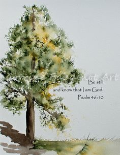 Watercolor painting of Old Oak Tree with Bible verse
